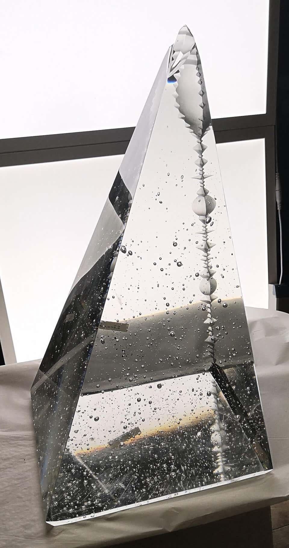 Jan Exnar  Czech Crystal Pyramid Monolith With Corner